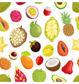 seamless pattern of tropica fruits avocado and vector image vector image