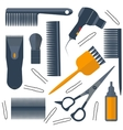 Set isolated tools for hairdresser hair scissors vector image