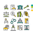 set linear judiciary colored icons vector image vector image