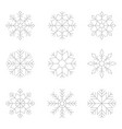 set of monochrome icons with snowflakes vector image vector image