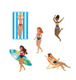 set women wearing swimsuit with surfboard and vector image vector image