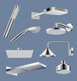 shower realistic bathroom equipment steel vector image vector image