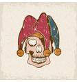 skull in jester cap grunge design template vector image vector image