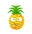 Suspicious pineapple face cute cartoon emoji vector image
