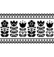 swedish floral retro pattern - seamless folk art vector image vector image