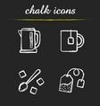 tea chalk icons set vector image