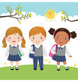 Three kids in school uniform going to school vector image