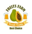 Tropical papaya fruit with juice cartoon sign vector image vector image