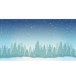 Vintage winter night forest landscape vector image vector image