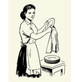 Woman drying dishes vector image