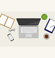 workspace top view with a laptop vector image vector image