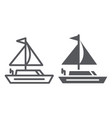 yacht line and glyph icon transportation and boat vector image vector image