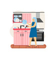 young woman dishwasher washing dishes in kitchen vector image