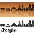 Zhongshan skyline in orange vector image vector image