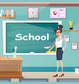 young female teacher in class room vector image