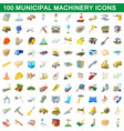 100 municipal machinery icons set cartoon style vector image vector image