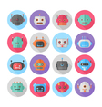 A set of flat robot icons vector image