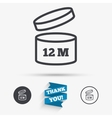 After opening use 12 months sign icon vector image vector image