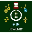Assorted flat luxury jewelries icons vector image vector image