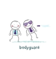 bodyguard protects against bullets vector image vector image