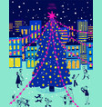 Bright christmas greeting card with city scene