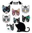 Cat Face cute set vector image vector image