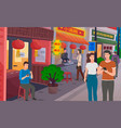 chinese shopping street with takeaway food vector image