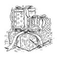 christmas gift boxes hand drawing vector image