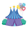 cute circus tent with balloons helium vector image