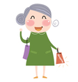 Cute Grandmother with shopping Bag vector image