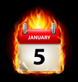 fifth january in calendar burning icon on black vector image vector image
