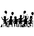 girls party silhouette vector image vector image