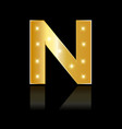 golden letter n shiny symbol vector image vector image