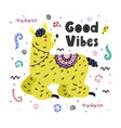 good vibes card with a cute llama creative vector image vector image