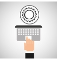 hand touch laptop web progress vector image