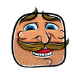 Happy cartoon face with mustaches vector image vector image