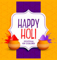 happy holi greeting design with colors splatter vector image vector image