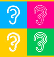 human ear sign four styles of icon on four color vector image vector image