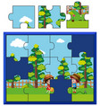 jigsaw puzzle pieces for kids watering plants vector image vector image