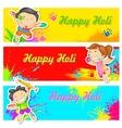 Kids playing Holi vector image vector image