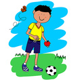 Little boy with ball and apple vector image vector image