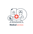 Medical analysis annual check up health insurance vector image vector image