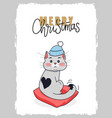 merry christmas postcard cat in winter hat kitten vector image vector image