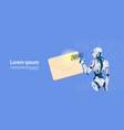 modern robot hold envelope sending email message vector image vector image