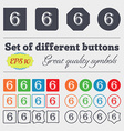 number six icon sign Big set of colorful diverse vector image vector image