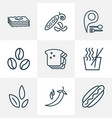 nutrition icons line style set with noodles vector image