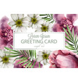 orchid and daisy flowers card watercolor vector image vector image