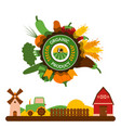 organic food label agriculture barn tractor