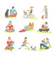 people spending time with pets on nature set vector image vector image