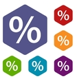Percent rhombus icons vector image vector image